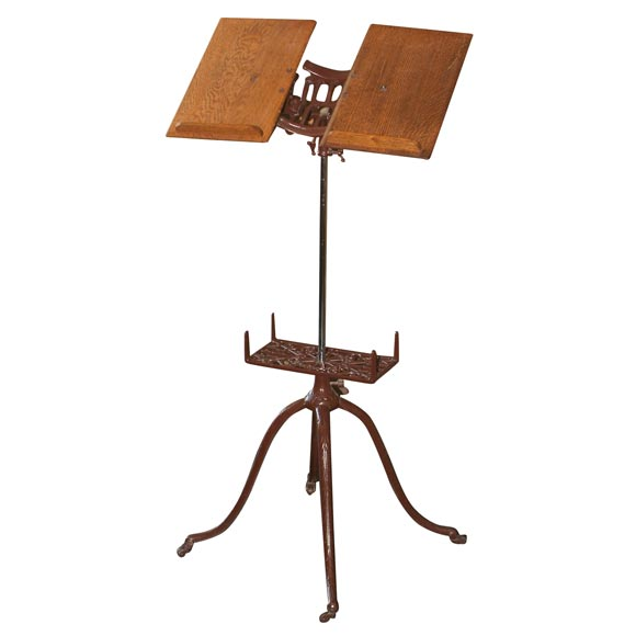 Wooden Iron Stand Designs : Antique cast iron and oak wood adjustable dictionary stand