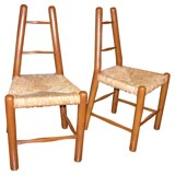 Set of Four Country Chairs in the Style of Charlotte Perriand