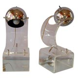 Pair of 70's Lucite and Chrome Lamps