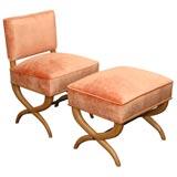 A Custom Boudoir Chair and Ottoman by T.H. Robsjohn-Gibbings