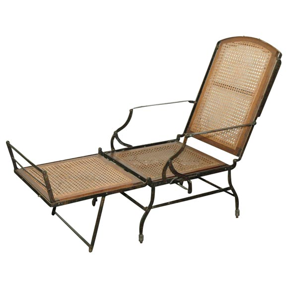 american iron and cane campaign chaise at 1stdibs. Black Bedroom Furniture Sets. Home Design Ideas