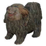 Carved Wood Pekingese Dog