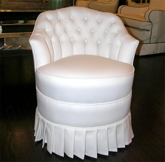 White Cotton Upholstered Vanity Chair with Pleated Skirt at 1stdibs