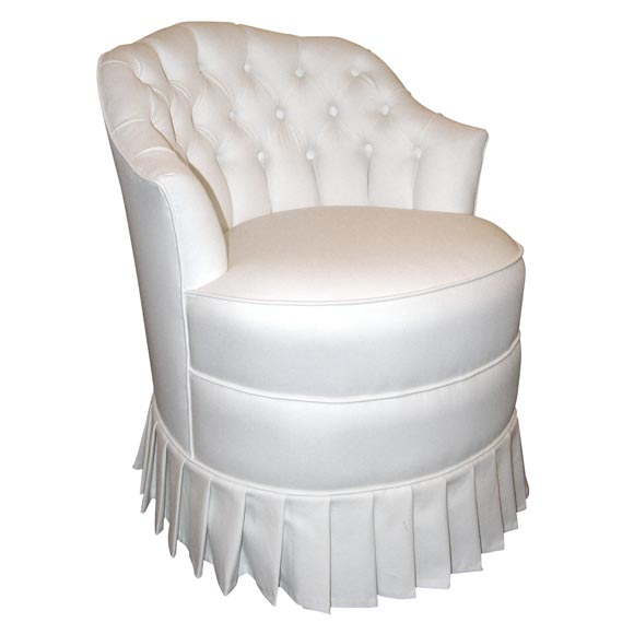White Cotton Upholstered Vanity Chair With Pleated Skirt For