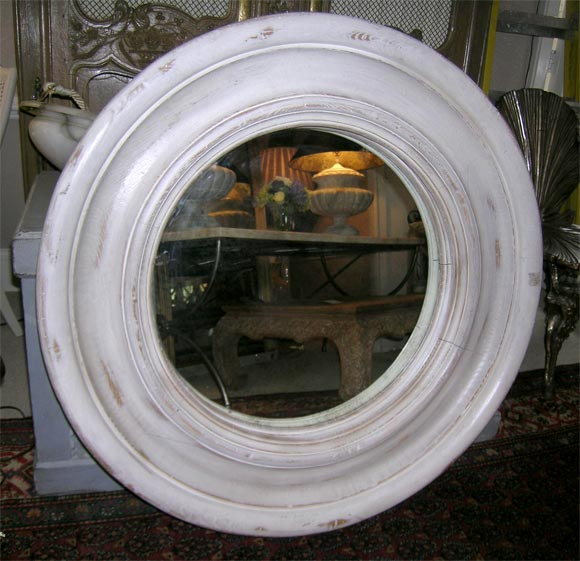 White Painted And Distressed Round Mirror At 1stdibs