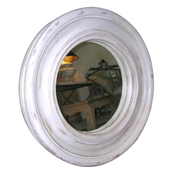 White painted and distressed round mirror at 1stdibs for White round wall mirror