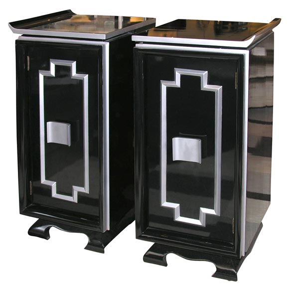 Pair of 1940 39 s asian inspired cabinets at 1stdibs for Asian inspired kitchen cabinets