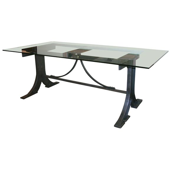 Cast iron and glass dining table at 1stdibs for Cast iron and glass dining table