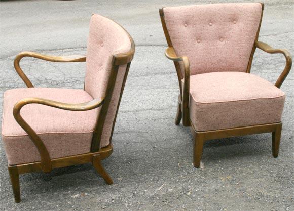 Danish Pair of Tubby Armchairs