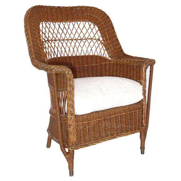 WICKER AND SEAGRASS CHAIR WITH CUSHION At 1stdibs