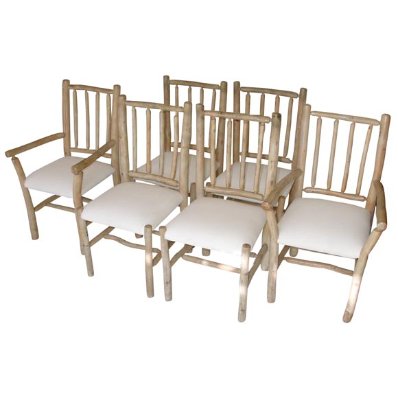 Chair french louis xv style chair wooden dining chair louis arm chair - 1930s Hickory Chairs With Original Blonde Paint Set Of Six