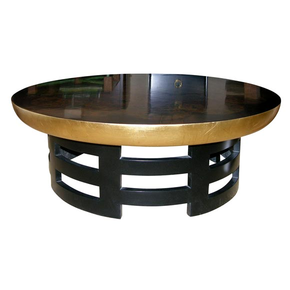 Round Black Lacqured And Gold Leaf Cocktail Table By Kittenger At 1stdibs