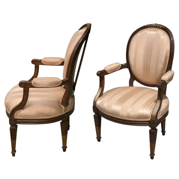 pair louis xvi style fauteuil at 1stdibs. Black Bedroom Furniture Sets. Home Design Ideas
