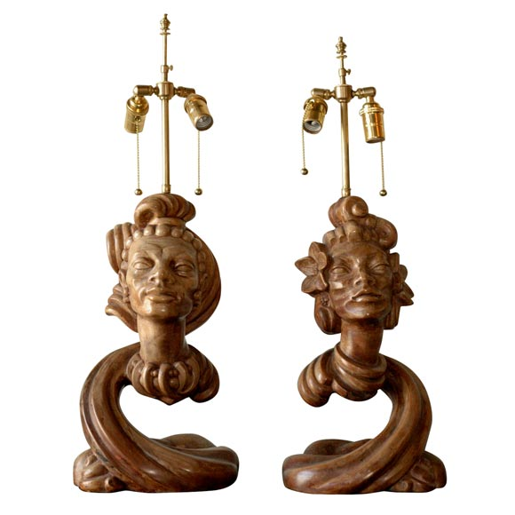 Pair of Tropical Style Table Lamps For Sale