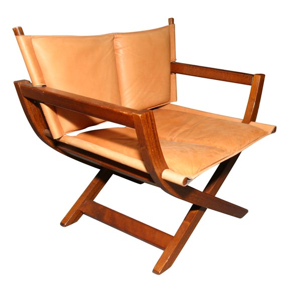 Leather and mahogany fold up chair at 1stdibs