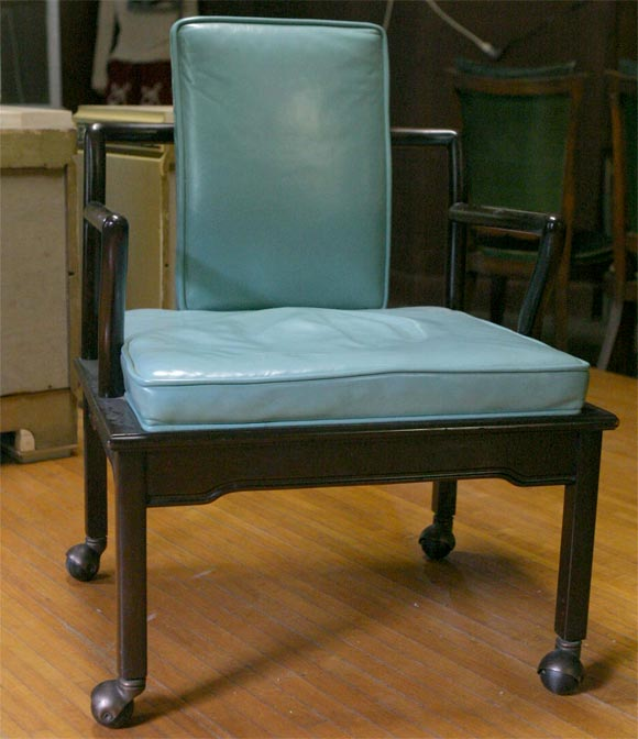 Set Of Four Turquoise Leather Club Chairs By Widdicomb For