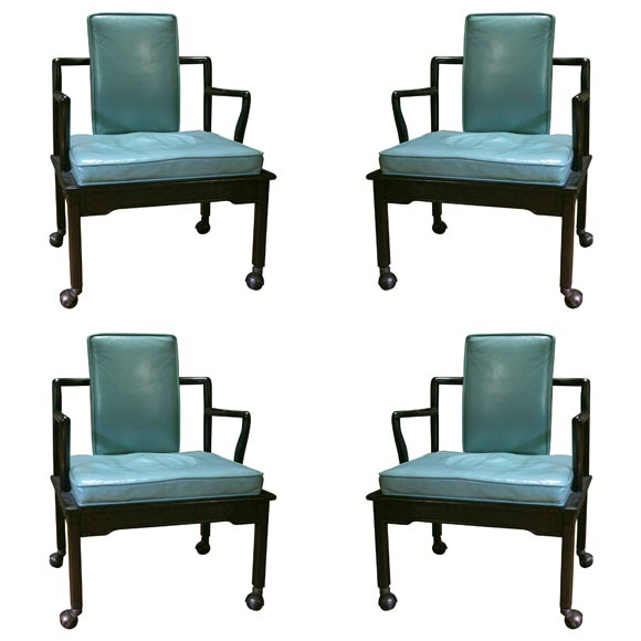 Set of Four Turquoise Leather Club Chairs by Widdicomb at ...