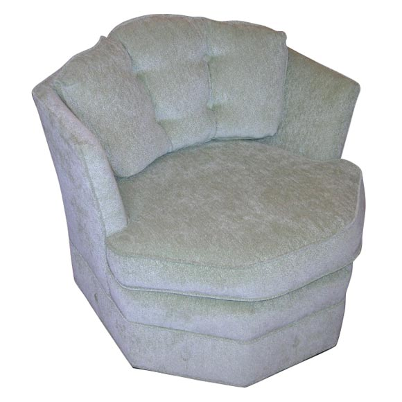 Pistachio Green Leather Sofa: OCTAGONAL SWIVELING CHAIR WITH PISTACHIO GREEN CHENILLE
