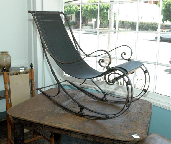Superieur Amazing Wrought Iron Rocking Chair, Leather Seat, Restored. Stunning Detail.