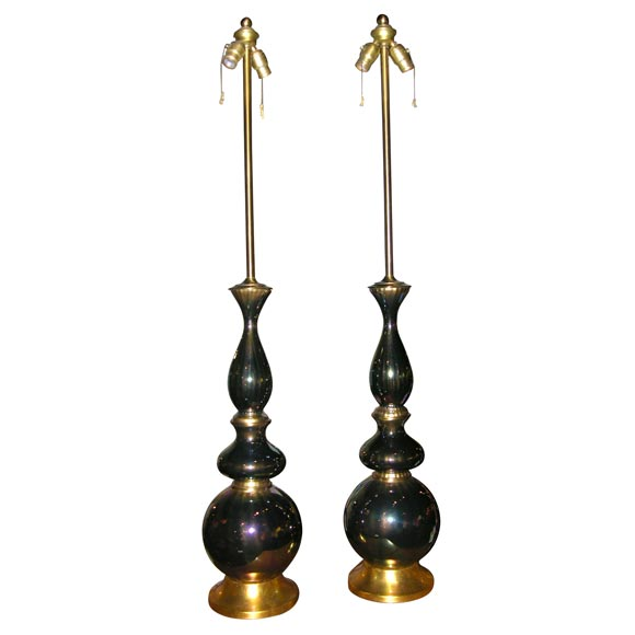 Pair of Tall Opulent Iridescent Glass Table Lamps by Marbro