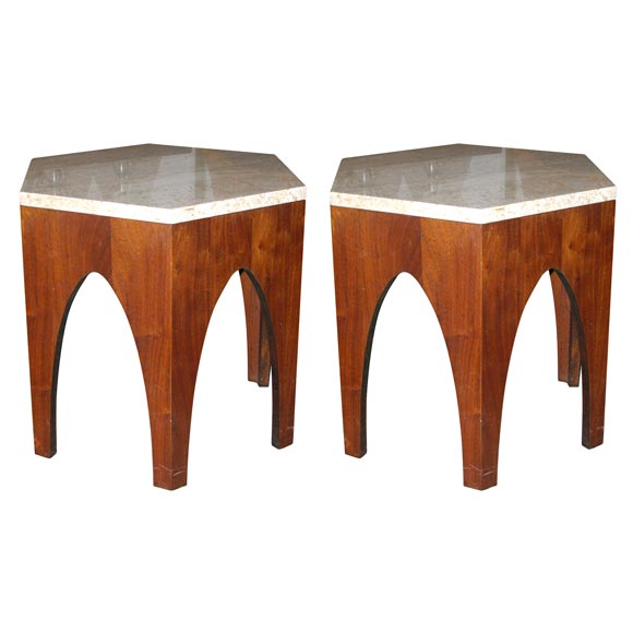 Pair of Hexagonal Occasional Tables by Harvey Probber