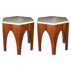 Pair of Hexagonal Occasional Tables Harvey Probber Style