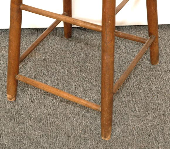 19thc New England Weavers Stool With Old Green Surface At