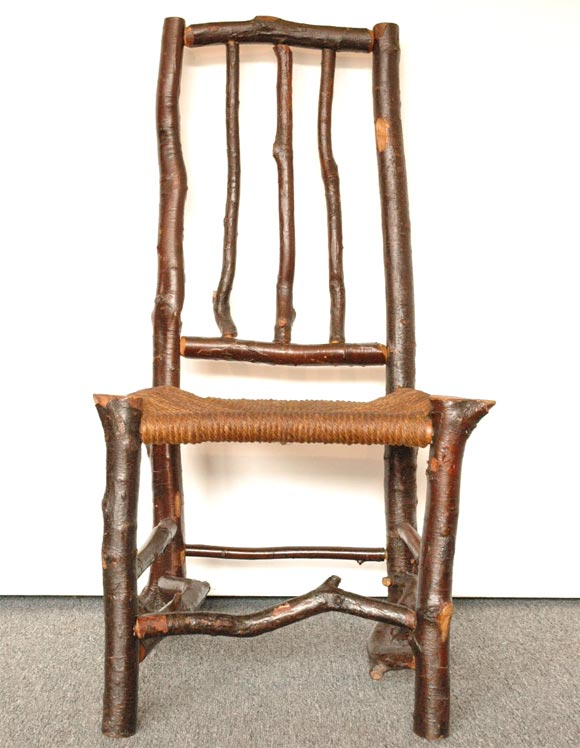 folky twig adirondack side chair with hand woven hemp seat DIY Twig Chairs DIY Twig Chairs