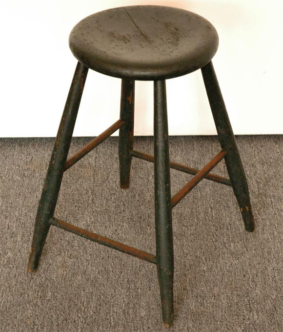 19THC ORIGINAL DARK GREEN STOOL at 1stdibs