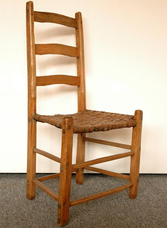 Early 19thc Hand Made Ladder Back Chairs With Woven Splint
