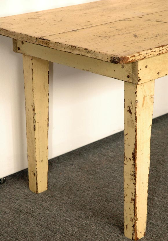 19thc original pale yellow farm table sofa table at 1stdibs for Yellow farmhouse table