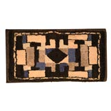 Late 19th Century Hand Hooked Wool and Velvet Mounted Rug