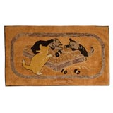 1930S PICTORIAL CATS AT PLAY-MOUNTED HOOKED RUG