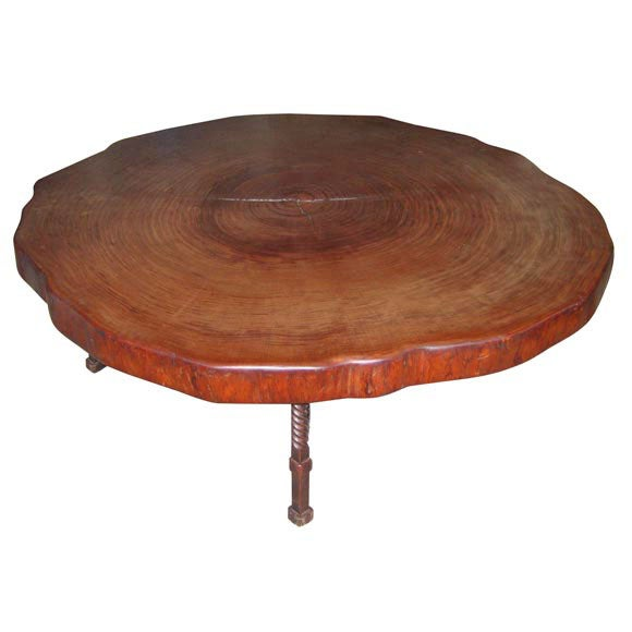 Coffee Table With Wrought Iron Base And Precious Wood Top At 1stdibs