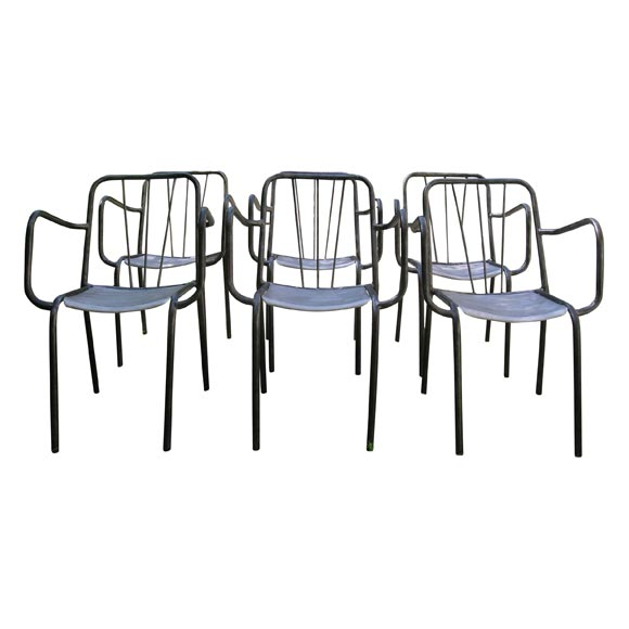 Set Of 6 French Metal Cafe Chairs At 1stdibs