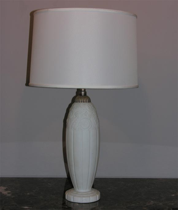 French Art Deco Art glass table lamp. Shade not included