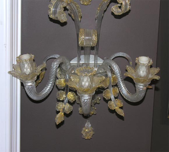 Venetian Wall Sconces : Pair of 1930 s Venetian Glass Sconces at 1stdibs
