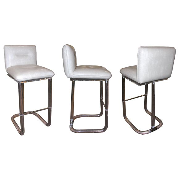 Set Of 3 Swivel Bar Stools In Molded Acrylic At 1stdibs