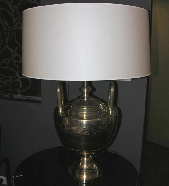 A bronze Art Deco table lamp by Caldwell. Shade not included