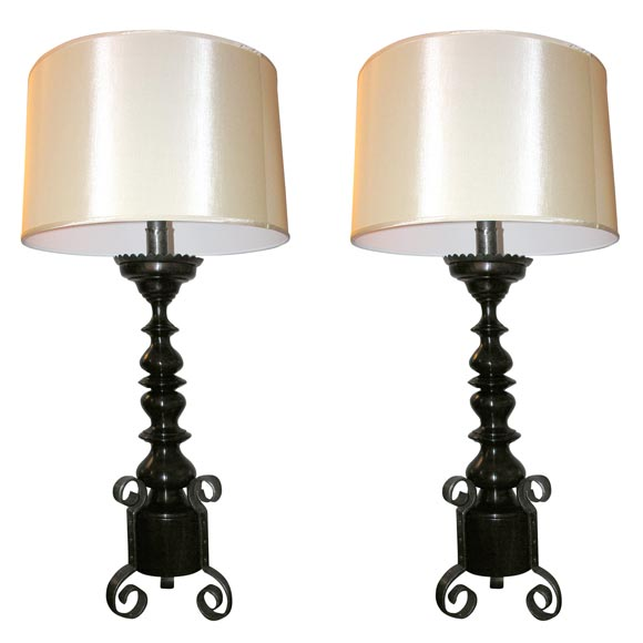 Pair of Art Moderne Table Lamps wood and wrought iron
