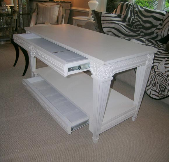 White Painted Neoclassical 2- Drawer Side Table At 1stdibs