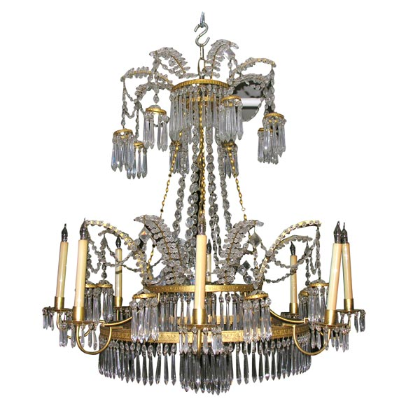 Swedish Neo Classic Bronze And Crystal 8 Lite Chandelier