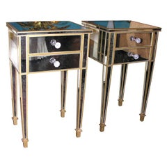 Pair of 2-Drawer Gold Trim Mirrored Nightstands
