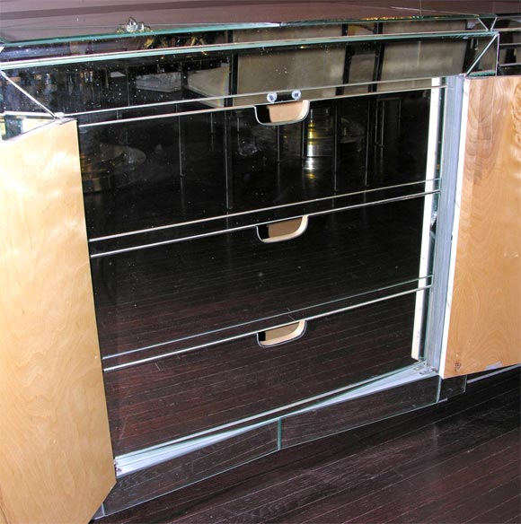 Wood Custom Mirrored Dresser For Sale