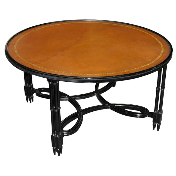 Black Lacquer And Original Leather Top Coffee Table At 1stdibs