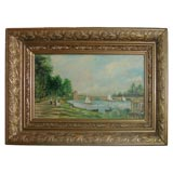 Oil of Sailboats on River