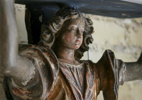 17th Century Carved Wood and Polychrome Angel Bracket 5