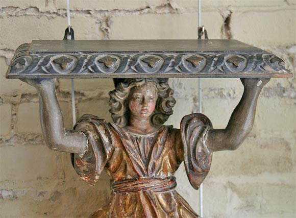 17th Century Carved Wood and Polychrome Angel Bracket 7