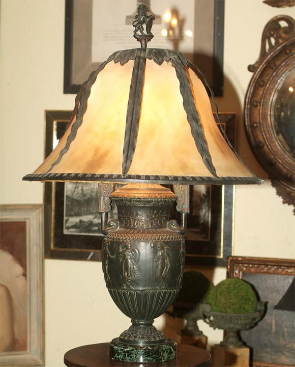 Neoclassical Sphelter Urn Shaped Lamp On Marble Base At