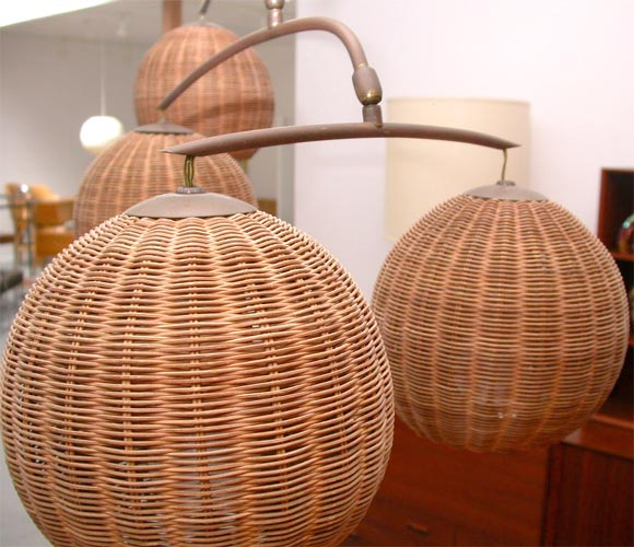 WIcker And Brass Mobile Hanging Light Fixture At 1stdibs